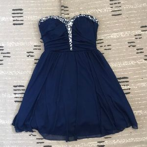 Macy's Navy Blue Strapless Formal Dress